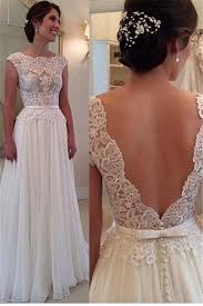 Elegant Wedding Gowns Lace Chiffon Elegant Wedding Dress With Bowknot Sash Open Back