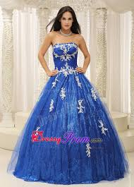 birthday dress royal blue sweet 16 birthday dress with white appliques