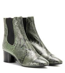 womens boots green leather marant danae printed leather ankle boots green