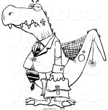 vector of a cartoon old business dinosaur outlined coloring page