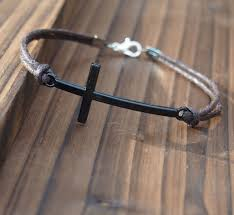 cross cord bracelet images Handmade mens bracelet cross gun black quality brown wax cord jpg