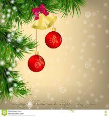 christmas greeting card with christmas tree and jingle bells stock