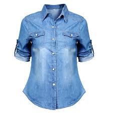 denim blouses 2015 fashion s sleeve denim blouse office shirt