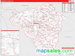 map of lancaster county pa lancaster county pa zip code wall map line style by marketmaps