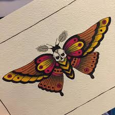 pink and yellow winged dead moth design tattooimages biz