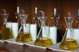 Olive Oil And Vinegar Bottles by Olive Oil And Vinegar In The Bottles Prepared For Giving On