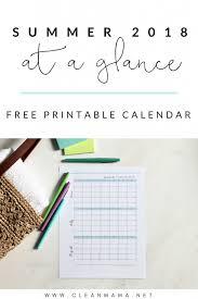 free printable summer 2018 calendar clean