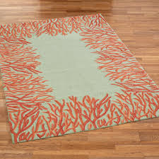 Orange And Brown Area Rugs Orange Coral Reef Indoor Outdoor Area Rugs