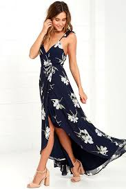 all mine navy blue floral print high low wrap dress wrap dresses