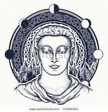 buddha face tattoo art sacred celtic stock vector 757691824