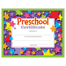 preschool certificates preschool certificates pack of 30 blank
