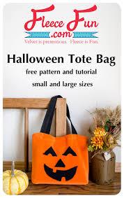 halloween fleece pumpkin tote bag free pattern and tutorial fleece fun