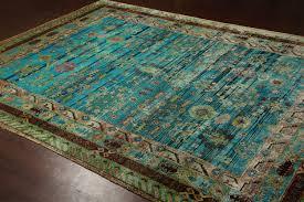 Sari Silk Rugs by Rugsville Ikat Light Blue Sari Silk 30012 8x10 Rug Rugsville