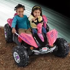 pink toy jeep fisher price power wheels dune racer atv battery powered riding