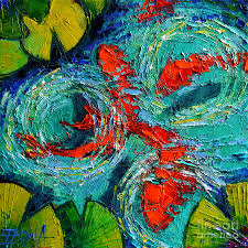 koi painting colorful koi fishes in lily pond by mona edulesco