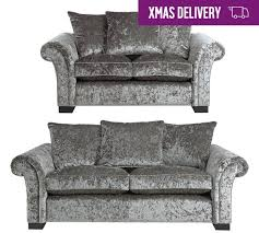 3 Seater And 2 Seater Sofa Buy Home Glitz Fabric 3 Seater And 2 Seater Sofa Silver At Argos