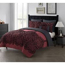 Red White Comforter Sets Vcny Home Flocked Paisley 7 Piece Bedding Comforter Set With Euro