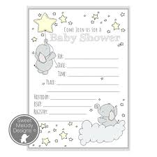 blank invitations printable baby shower invitations elephants and pale