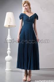 teal blue romantic tea length v neckline formal evening dress with