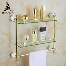 Titanium Bathtub Shipping Brass Crystal Titanium Gold Plating Towel Racktowel Shelf
