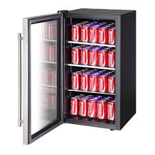 beverage cooler with glass door magic chef 17 in 90 can beverage cooler in stainless steel