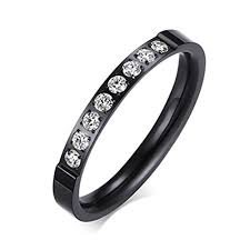 3mm ring womens black fashion jewelry 3mm stainless steel thin wedding ring