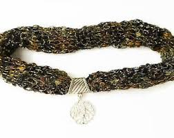 trellis ladder yarn necklace instructions knitted necklace etsy