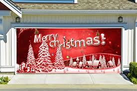 Christmas Decoration For Garage Door by Amazon Com Christmas Garage Door Cover Merry Christmas Banners 3d
