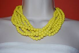 colors close to yellow statement necklace chunky yellow beaded necklace bold multi strand