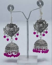 Buy Tribal German Silver Jhumka Jhumkas Earrings Tribal German Silver Jhumka Earring Online