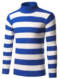 cardigans sweaters blue 3xl slim fit roll neck striped sweater