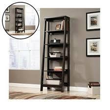 5 shelf ladder bookcase jamocha wood contemporary bookshelf