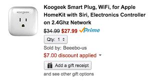tp link smart plug amazon black friday green deals koogeek wi fi smart plug w homekit siri control