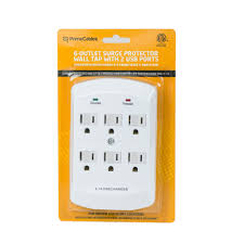 wall mounted surge protector primecables 6 outlet wall mount surge protector with dual usb