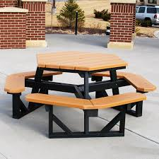 Free Hexagon Picnic Table Plans by Polywood Park Recycled Plastic 53 In Octagon Commercial Picnic