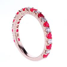ruby band alternating ruby and diamond band 14k gold market