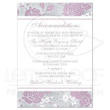 Wedding Invitation Insert Cards Mauve Silver Gray White Floral Wedding Reception Enclosure Card