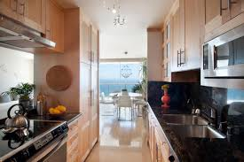 galley kitchen design with breakfast bar of amazing galley kitchen