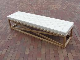 wooden white upholstered bench white upholstered bench to