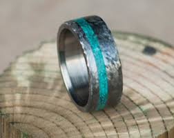 Turquoise Wedding Rings by Two Channel Banner In Rose Gold Wood Antler U0026