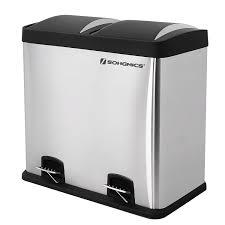 poubelle cuisine rectangulaire songmics 48 l poubelle tri sélectif de cuisine de recyclage acier