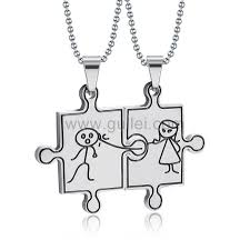 engraving necklaces engraved jigsaw puzzle necklaces for boyfriend and