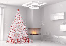 white christmas tree and gifts in the living room 3d render stock