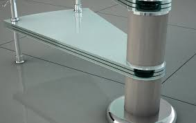 spiral staircase glass steps stainless steel frame without