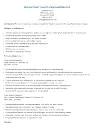 Sample Resume Public Relations by Sample Public Relations Specialist Resume Resame Pinterest