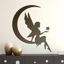 stickers muraux chambre fille ado fée sur la lune avec étoile stickers pour enfants chambre bebe