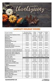 joint base langley eustis langley thanksgiving hours