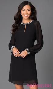 long sleeve short chiffon dress promgirl