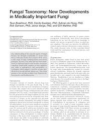 j dische k che fungal taxonomy new developments in medically important fungi
