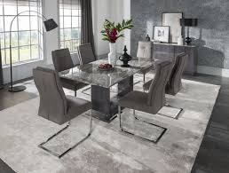 vida living donatella 1 8 marble dining table and 6 grey donatella